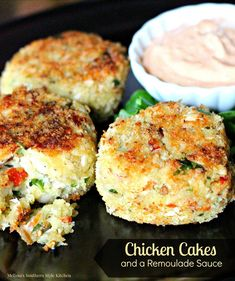 These Chicken Cakes and Remoulade Sauce are a fantastic budget friendly 30 minute meal choice. Allergic to shellfish? No worries with these crispy breaded chicken cakes. Can Chicken Recipes, Turkey Recipes, Meat Recipes, Cooking Recipes, Chicken Ideas, Dishes Recipes, Cafe Recipes, Cooking Stuff, Turkey Dishes