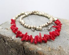 Coral Red Necklace Beaded African Beads and Coral by BlueMargarita