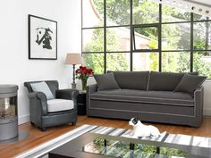 Contemporary and comfortable, the Cosmos has a cutting-edge look. With a full-length feather base cushion on a foam base it can easily be transformed into a single sofa bed. It is made in Britain to order, so you can alter the measurements if necessary. The covers are removable and it is available in a wide choice of fabrics in different price categories
