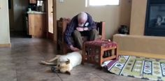 An elderly man who has lost his speech to Alzheimer's starts talking to family dog.