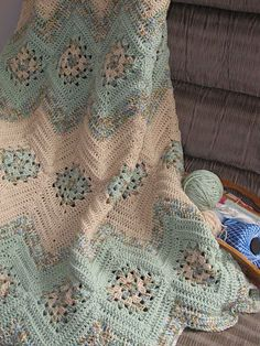 Granny Square and Ripples Crochet Afghan Pattern From simply-crochet. Crochet Afghans, Crochet Squares, Crochet Blanket Patterns, Knit Or Crochet, Baby Blanket Crochet, Crochet Crafts, Crochet Hooks, Knitting Patterns, Afghan Blanket