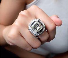 Asscher Diamond Engagement ring 20.05 ct M color VVS1 Asscher Cut Diamond Engagement Ring, M Color, Class Ring, Diamond Cuts, Jewelry, Jewlery, Jewerly, Schmuck, Jewels