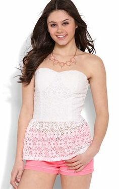 Deb Shops Strapless #Floral Crochet #Peplum Top $10.00