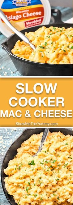 This Slow Cooker Mac and Cheese takes minutes to put together and is full of FOUR kinds of cheese: Asiago, Sharp Cheddar, Monterey Jack, and Gouda, which makes this the best holiday side dish! showmetheyummy.com #crockpot #macandcheese