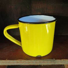 Vintage Metal Enamel Cup Vintage Mug Yellow and by oZdOinGItagaiN, $6.00