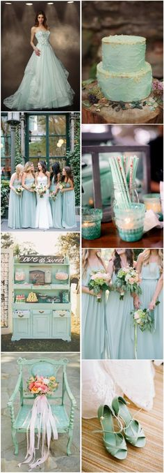Refreshing, tender, exquisite and very relaxing - that's mint decor for your wedding! That's one of the hottest colors for a wedding theme and I know why - it's so sweet and magnetic! Here are some mint green wedding color ideas to inspire you Wedding Color Schemes, Wedding Colors, Wedding Themes, Wedding Decorations, Rustic Wedding, Our Wedding, Wedding Mint Green, Green Weddings, Burgundy Wedding