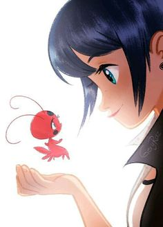 Marinette and Tikki from Miraculous Ladybug and Cat Noir Ladybug E Catnoir, Ladybug Und Cat Noir, Ladybug Anime, Ladybug Comics, Lady Bug, Miraculous Marinette, Tikki Y Plagg, Miraculous Characters, Marinette Dupain Cheng