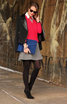 **old navy sweater + white blouse + silver bib necklace + black AT jacket + black skirt & booties // Bright Ideas