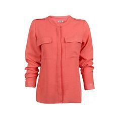 Camisa feminina de manga longa modelo mullet salmão com textura de... ❤  liked 54619c24e40a6