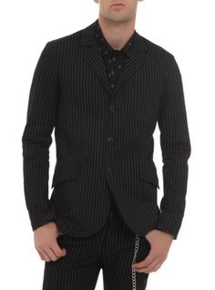 Mini White Pinstripe Black Three Piece Suit | Men Suits