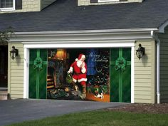 fancy and fast santa garage door holiday decoration door wrap gets the whole house into the christmas spirit - Garage Christmas Decorations