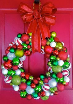 Festive Traditional Christmas Ornament Wreath