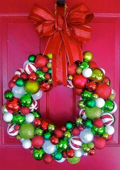 Festive Traditional Christmas Ornament Wreath