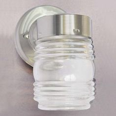 Shop Volume International Jelly Jar 7-in H Brushed Nickel Outdoor Wall Light at Lowes.com