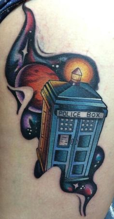 Really cool style of Tardis Tattoo