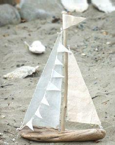 treibholz basteln sand meer steine deko stoff boot diy