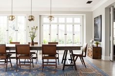 These new modern furniture trends will update and transform your home into the trendiest one on the block. Your home is ready -- are you? Rustic Farm Table, Style Deco, Dining Room Inspiration, Dining Room Design, Dining Rooms, Dining Chairs, Dining Area, Ikea Dining, Wooden Chairs