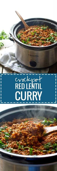 Red lentil curry is one of my favorites! This version is so simple - just toss everything in the crockpot. Easy, healthy, and full of flavor.