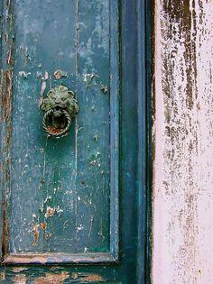 rustic turquoise door, deep teal, weathered, antiqued, door knocker, lion, venetian,Fine Art Photograph