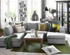 Memphis 3-sits soffa med divan och schäslong i tyg Flash salt/peppar från Mio.
