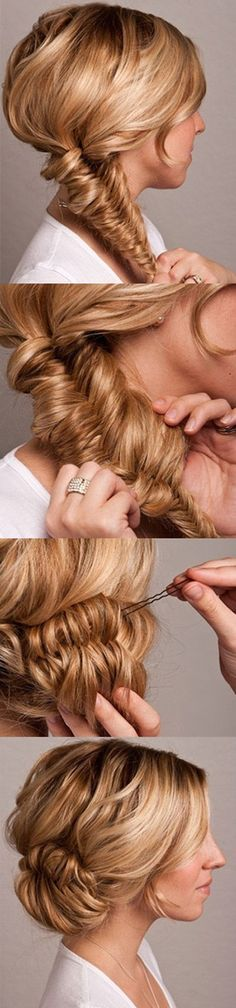 By Alex Smith. Here is a great fishtail bun tutorial - Here are the instructions:1) It looks like you want to start with some texture in your hair so go ahead and use some product and curl it up a little. You might want to back comb and tease it up some at the crown and in the back to add some more volume there, too. Then do a fishtail braid. This one is done to the side but it could also be d...