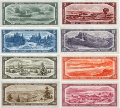 a colourful grid of eight bank notes, each featuring an image of a Canadian region