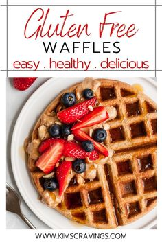 Healthy gluten free waffles are light, crispy-on-the-outside, fluffy-on-the-inside, delicious waffles. The perfect tasty, nutritious breakfast! Clean Eating Waffles, Healthy Waffles, Clean Eating Breakfast, Nutritious Breakfast, Eat Healthy, Healthy Snacks, Dairy Free Recipes Easy, Easy Brunch Recipes, Real Food Recipes
