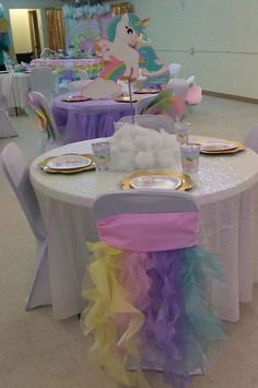 Decorate Her Highchair Like This Party Ideas Unicorn Party Unicorn Themed Birthday Party, Unicorn Birthday Parties, First Birthday Parties, Birthday Party Decorations, Birthday Ideas, Happy Birthday, Unicorn Centerpiece, Little Pony Party, Unicorn Baby Shower
