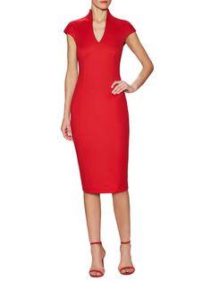Cap Sleeve Standing V-Neck Sheath Dress by Ava