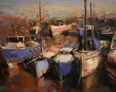 """Daily Paintworks - """"SAIL BOATS HARBOR"""" - Original Fine Art for Sale - © V Yeremyan"""