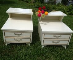 White Nightstands Cedar Lined Hollywood Regency Shabby Chic White Wooden End…