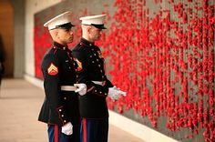 Marines standing at the Australian War Memorial Roll of Honor before Obama arrives. #happeningnow
