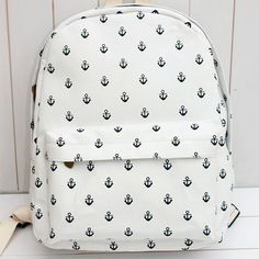 Little Anchor White Canvas Backpack