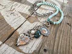 Long Amazonite Heart Necklace Antique style pendant Chunky