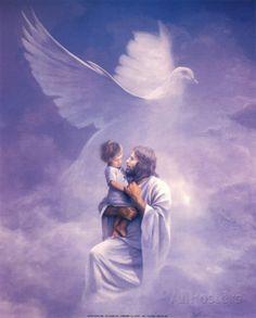 Lord Jesus holding child and Holy Spirit Dove Prophetic Art. Image Du Christ, Image Jesus, Jesus E Maria, Pictures Of Jesus Christ, Padre Celestial, Saint Esprit, Prophetic Art, Jesus Art, Jesus Is Lord