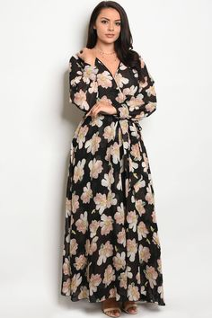 Long Sleeve Printed Chiffon Maxi Dress (True Curves) ~ 7 Colors to Choose From!!
