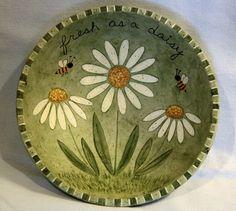 Spring Folk Art Wood Bowl READY TO SHIP by RavensBendFolkArt