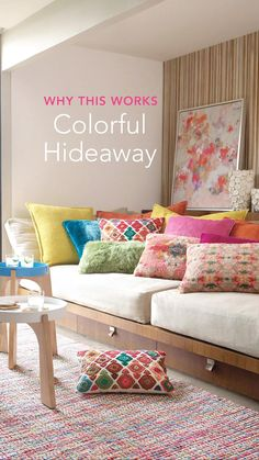 Ever look at a beautiful room and wonder how did they do that—and, more importantly, how can I do something similar at home? In this edition, we break it down, using this colorful nook as your inspiration. Colorful Pillows, Colorful Decor, Colorful Interiors, Colorful Rugs, Purple Color Schemes, Bold Colors, All The Colors, Rainbow Palette, Portfolio Ideas