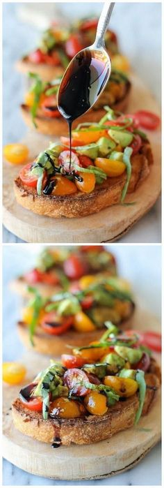 Avocado Bruschetta with Balsamic Reduction - With ripe avocado and juicy grape tomatoes, this is the perfect midday treat or party snack! With ripe avocado and juicy grape tomatoes, this is the perfect midday treat or party snack!