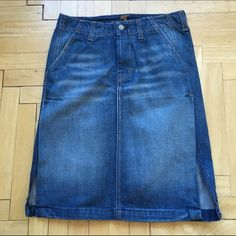 """7 for all mankind jean skirt sz 25 Awesome 7 for all mankind Jean skirt. 2 side slits. Sz 25.  Waist to hem is 21.5"""". Slits are 12"""" high. Worn a couple times. Excellent condition. 7 for all Mankind Skirts Midi"""