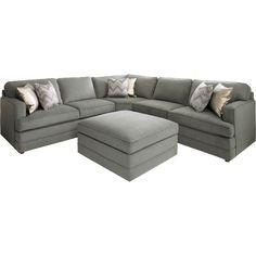 bassett dalton lshaped sectional sofa with ottoman