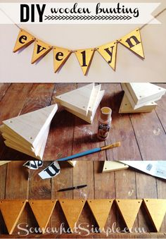 Step by step tutorial on how to make this adorable Wooden Bunting! Via Somewhat Simple