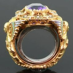 Gold Victorian Bishops ring with stunning enamel work and hidden ring with stalking wolf (image 6 of 13)