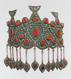 Central Asia or Iran.  Headdress, late 19th, early 20th century.  Silver, table-cut carnelians, turquoise beads, silver gilded link chain.