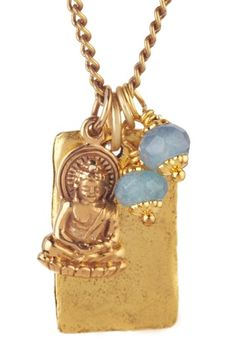 Bronze Buddha & Blue Czech Necklace by Charming Summer Jewelry on @HauteLook