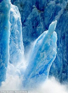 A huge column of ice caves away from the face of the Dawes Glacier in the Tracy Arm Fjords Terror Wilderness in Alaska