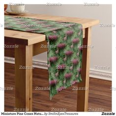 Miniature Pine Cones Nature Pattern Short Table Runner.  From Smilin' Eyes Treasures at Zazzle.