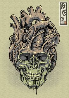 graphic design, illustration, creative arts news, features and inspiration Brust Tattoo, Totenkopf Tattoos, Skull Artwork, 1 Tattoo, Desenho Tattoo, Skull Design, Skull Tattoos, Skull And Bones, Heart Art