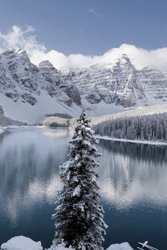 Colorado, mountains, clouds, blue sky, water, reflections, snow, Winter, beauty of Nature, peaceful, silence, photo