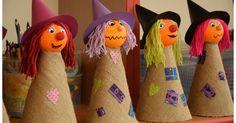 ...letos trošku náročnější než loni :-) Pomůcky: polystyrenové kuličky, acrylová barva, tvrdý papír na kužel, barevný tvrdý papír na... Halloween Party Games, Theme Halloween, Halloween Crafts For Kids, Diy Halloween Decorations, Fall Halloween, Happy Halloween, Autumn Crafts, Coron, Burlap